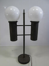 Vintage Metal Torch Style Table Lamp w/White Globes