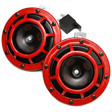 HELLA Red Super Tone Dual Car Horn 12V 118dB Loud - Authentic Brand New Set of 2