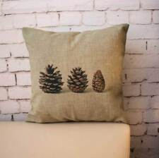 Natural Pinecone Nuts Retro Cushion Cover Throw Pillow Case Linen Home Decor