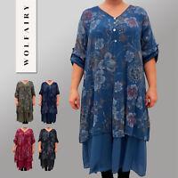 Italian Cotton Dress Lagenlook Floral Long Sleeve Plus Size 18-24