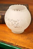"Antique Vintage Frosted Etched Floral Gas Oil Ball Lamp Shade 3"" Fitter"