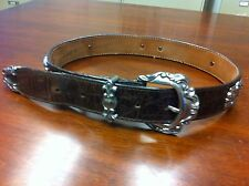 Vintage BRIGHTON Brown Leather Croc Print Belt Women's; Size Small;42209