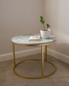 Solid Marble Top Round Coffee Table Lounge Living Room Modern Gold Legs