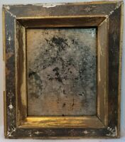 Victorian Eastlake Incised Gilt Wood Picture Frame Charcoal Portrait WAVY Glass