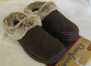 Womens Dearfoams Clog Slippers Brown Microsuede S    Brand New faux fur trim