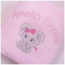 Personalised Baby Blanket Elephant Design New Baby, Birthday Girl Or Boy