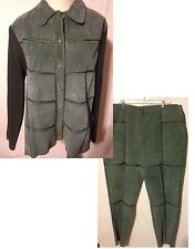 ROBERT LOUIS Womens Suede Jacket & Pants Outfit Suit Beautiful Sage Green 2X
