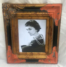 "Coco Portrait Print w Vtg Black & Gold Distressed Ornate Frame 17.5"" x 15.5"""