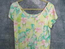 Jams World Dress M 37 Bust Cruise Hawaii Flowing Pink Teal Lime Romantic Cap Slv