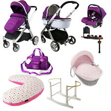 2018 iSAFE Marvel New Born Bundle Package - Plum Pram + Carrycot + Isofix Base