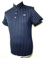 Mens Lacoste Navy Blue White Striped Polo Shirt Size M Slim fit *Stretch* 9-623