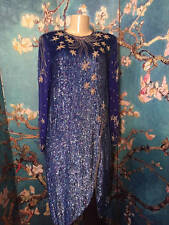 MAHARAJ L BLUE SILK SEQUIN/BEADED FLORAL OPEN BACK LONG SLEEVE BELOW KNEE DRESS