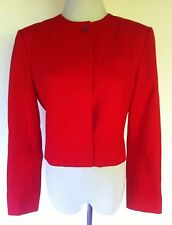 PENDLETON Womens Red VTG 100% Virgin Wool Button Front Blazer Cropped Jacket 8