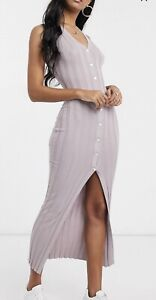 Missguided Ribbed Button Up Bodycon Midaxi Dress