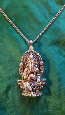 "LARGE Silver GANESH ELEPHANT GOD Pendant Necklace 28""  Top Jumper Pendant.  d2"