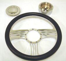 "NEW 14"" Chrome Leather Banjo Steering Wheel Street Rod"