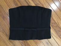 CARLISLE Women's Black Silk Strapless Zippered Lined Top Blouse Size 6