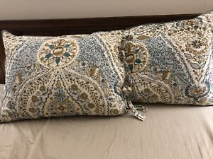 Lot of 2 Pottery Barn Angie Floral STANDARD Quilted Shams Ivory Blue 20 X 26