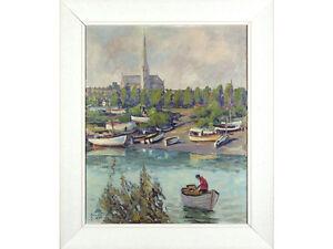 Vintage Oil Painting - Cathedral / River Landscape Salisbury?? SIGNED