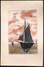 Peinture 110 x 170 mm signée R. PORTE contre collée sur cartonnage 160 x 250 mm