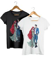 Disney Princess Ariel & Prince Eric Matching Couples T-Shirt Adults Unisex Fit
