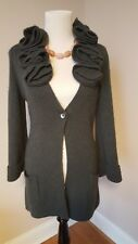 Soft Surroundings Long Alpaca Wool Cardigan Sweater Green Sz SMALL Ruffle Collar