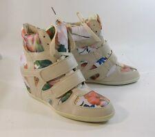 """Beige/flower 3"""" hidden wedge heel  platform round toe ankle sexy boot size  8"""