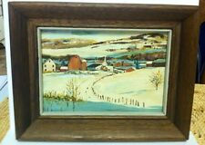 "Vintage Minature Oil Painting Small Farm Landscape Framed 9""x7"""
