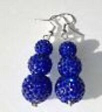 SHAMBALLA 3 BEAD DARK BLUE DROP EARRINGS - AUSTRIAN CRYSTAL DISCO BEAD-SPARKLY