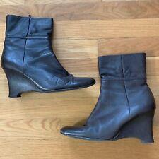 Valerie Stevens Val Flex Brown Leather Ankle Wedge Booties, Sz 8.5 Side Zip
