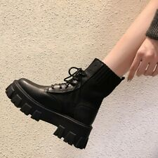 Casual Block Heel Biker Booties Womens Platform Lace Up Faux Leather Short Boots
