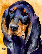 Black and Tan Coonhound Dog Art Print sifgned by Artist Ron Krajewski 8x10