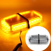 LED 24W 12V Flashing Beacon Strobe Light Magnetic Amber Vehicle Roof Lightbar