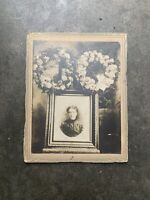 Vintage Funeral Memorial Photo Cabinet Card Woman Flower Wreath Rare Real Old