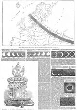 Path of the Solar Eclipse over Europe - Antique Print 1851