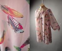 Feather Print Light Pink Sheer Tie Sleeve Romantic Top 284 mv Blouse 1XL 2XL 3XL