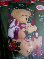 Christmas Dimensions Felt STOCKING Holiday Kit,TEDDY BEAR,Mom & Baby,8115,18""