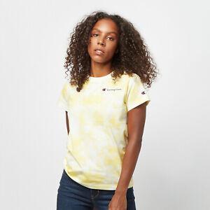 Champion Tie Dye Digital Print T-Shirt Women's Yellow White Sportswear Tee Top
