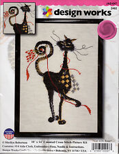 ** COUNTED CROSS STITCH KIT DESIGN WORKS 2462 CAT WITH ROSE KITTY DESIGN