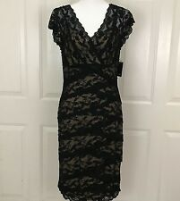 Marina Women's Black Cocktail Formal Dress Size 12 Beaded Sequins Lace V neck