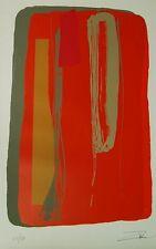 Larry Zox Niagara Series III Orange Signed Linocut Lithograph