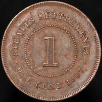 1907 | Straits Settlements Edward VII One Cent | Bronze | Coins | KM Coins