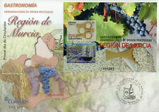 Spain 2017 MNH Gastronomy Murcia Region Rice Wine Grapes 2v M/S Cover Stamps