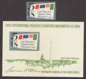 US. 1310,1311. Sixth International philatelic Exhibition. Stamp & S/S Sheet. MNH