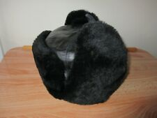 RUSSIAN BLACK 100% SHEEPSKIN & LEATHER WARM WINTER TRAPPER HAT, QUILTED, 57cm