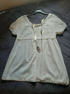 Topshop Kate Moss Boho Festival Cream Lace Blouse Top Size 10 to 12