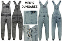 Men's Denim Acid Wash Full Length Dungarees Jeans Mid Bib Overalls Size XS- XXXL