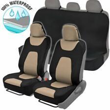 Beige/Black Waterproof Neoprene Full Seat Cover Set Sideless Front Car Truck SUV