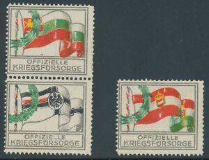 FIRST WORLD WAR WWI three different OFFICIAL WAR WELFARE STAMPS / VIGNETTES