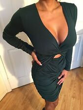 Long Sleeve Deep V Plunge Green Mini dress w/ Ruched Skirt &  cut out detail S